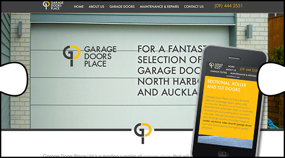 Garage Doors Place website with parallax scrolling technique and mobile optimisation designed, built and webhosted by Jigsaw Design