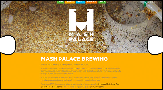 Mash Palace Brewing website with parallax scrolling technique and mobile optimisation designed, built and webhosted by Jigsaw Design